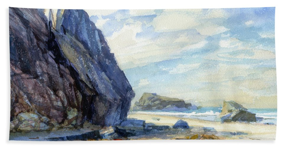 Beach Hand Towel featuring the painting Washed Ashore by Steve Henderson