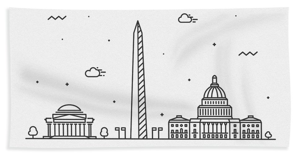 Washington Bath Towel featuring the drawing Washington, D.c. Cityscape Travel Poster by Inspirowl Design