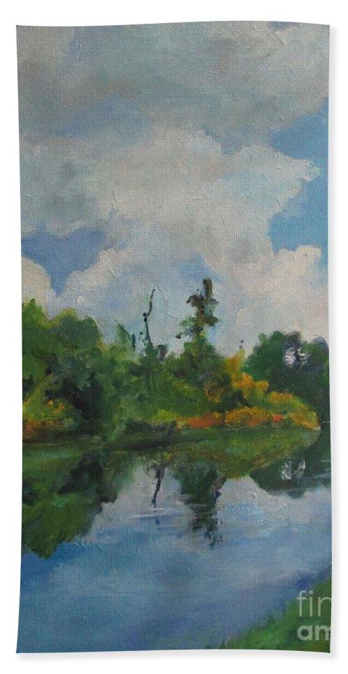 Barbara Moak Bath Towel featuring the painting Waterway At Millennium Garden by Barbara Moak