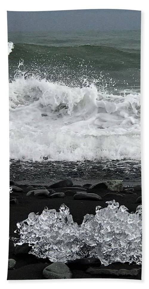 Iceland Bath Towel featuring the photograph Waves And Ice by Norman Burnham