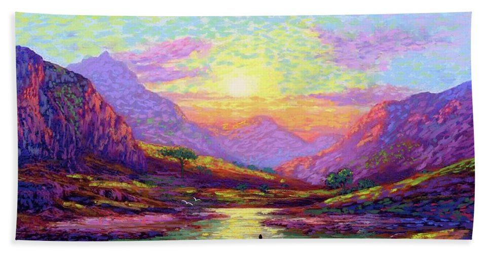 Meditation Bath Towel featuring the painting Waves Of Illumination by Jane Small