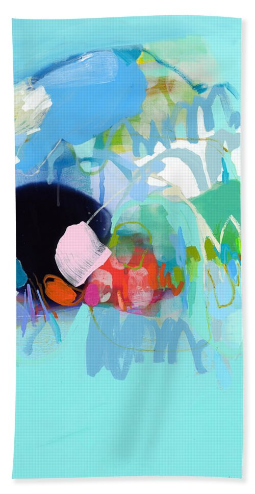 Abstract Hand Towel featuring the painting West Coast Wanderlust by Claire Desjardins