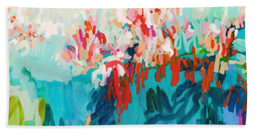 Abstract Bath Towel featuring the painting What Are Those Birds Saying? by Claire Desjardins