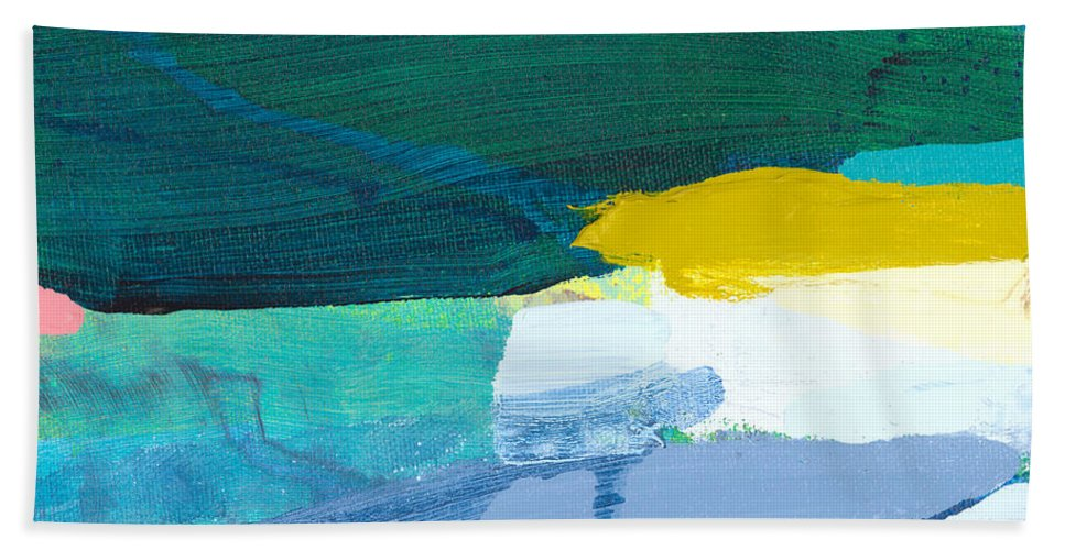 Abstract Bath Towel featuring the painting When Winter Melts Away by Claire Desjardins