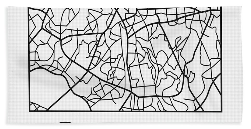 Sao Paulo Hand Towel featuring the digital art White Map Of Sao Paulo by Naxart Studio
