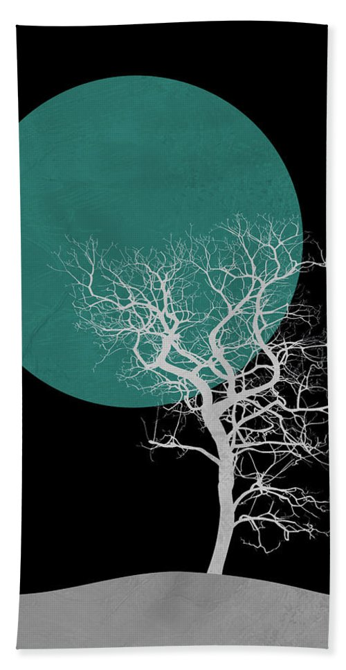 Tree Hand Towel featuring the mixed media White Tree And Big Moon by Naxart Studio