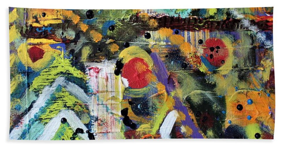 Nature Bath Towel featuring the painting Who What Where by Pam Roth O'Mara