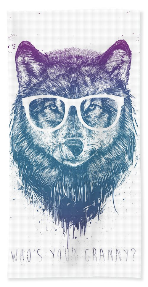Wolf Bath Towel featuring the mixed media Who's your granny? by Balazs Solti