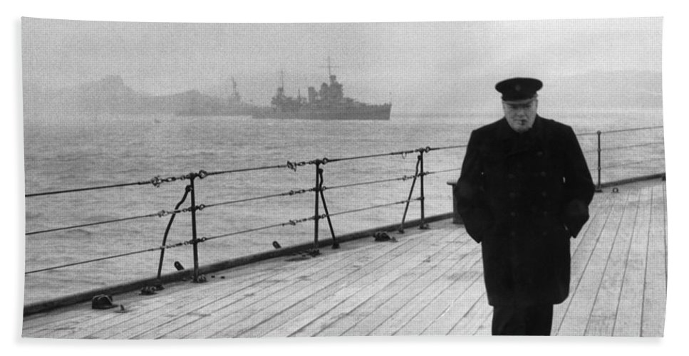 Winston Churchill Bath Towel featuring the photograph Winston Churchill At Sea by War Is Hell Store
