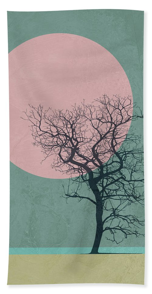 Tree Bath Towel featuring the mixed media Winter Tree by Naxart Studio