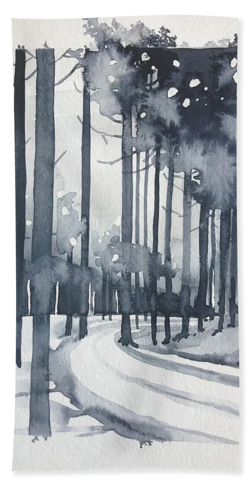 Trees Bath Towel featuring the painting Winter Trees Version 2 by Luisa Millicent