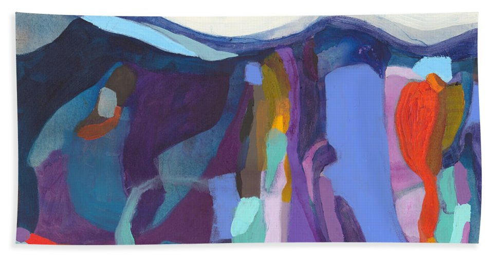 Abstract Hand Towel featuring the painting With Grace by Claire Desjardins