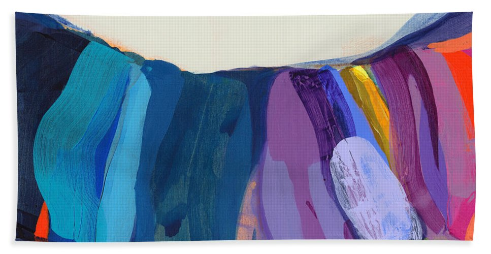 Abstract Hand Towel featuring the painting With Joy by Claire Desjardins
