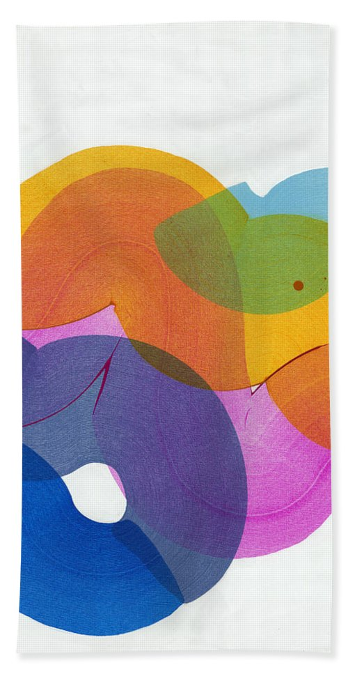 Abstract Hand Towel featuring the painting With Love by Claire Desjardins
