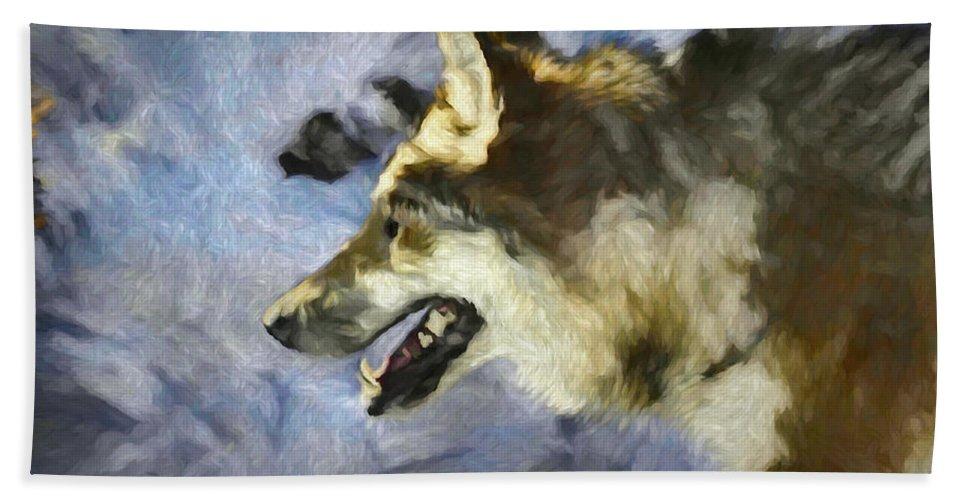 Wolf Bath Towel featuring the digital art Wolf Storm by Ernie Echols