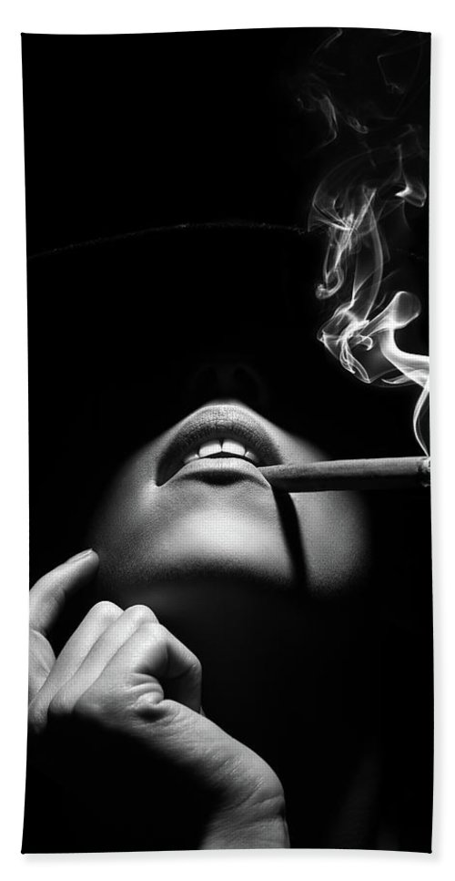 Woman Bath Towel featuring the photograph Woman smoking a cigar by Johan Swanepoel
