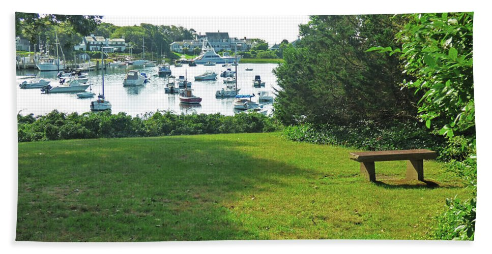 Landscape Bath Sheet featuring the photograph Wychmere Harbor Cape Cod Morning by Sharon Eng