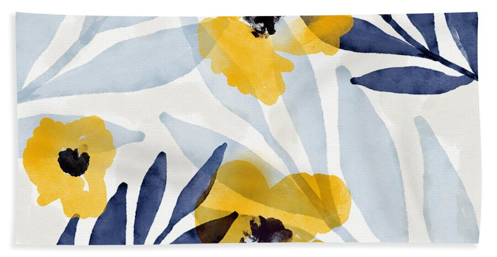 Flowers Bath Towel featuring the mixed media Yellow and Navy 2- Floral Art by Linda Woods by Linda Woods