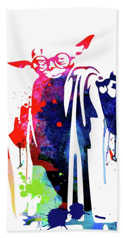 Yoda Bath Towel featuring the mixed media Yoda Wearing Classes Watercolor by Naxart Studio