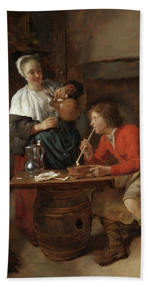 Gabriel Metsu Hand Towel featuring the painting Young Man Smoking And A Woman Pouring Beer by Gabriel Metsu