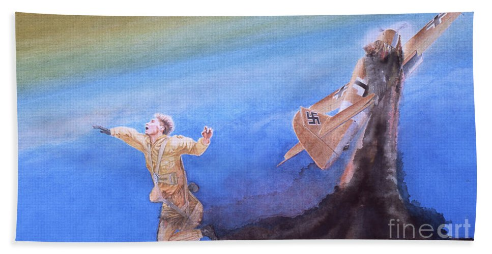 Sky Bath Sheet featuring the painting Young Man's Finale by Oleg Konin