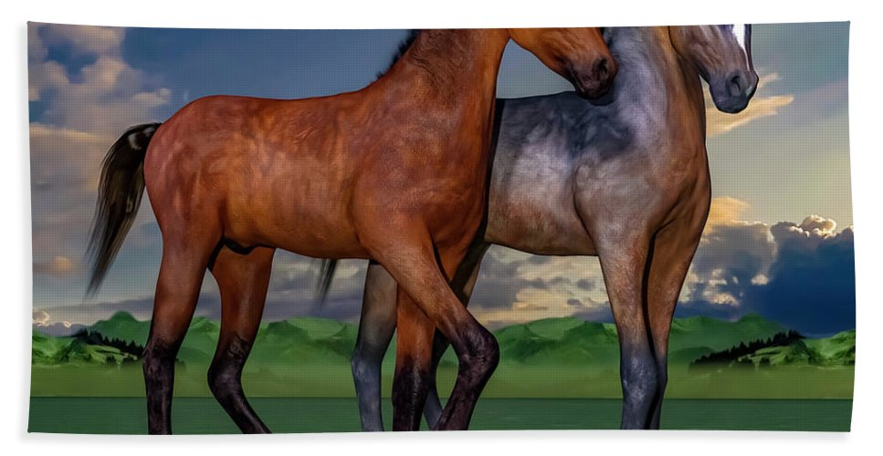 Foals Bath Towel featuring the digital art Young Spirits by Betsy Knapp