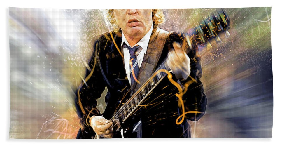 Angus Young Bath Towel featuring the digital art You've been thunderstruck by Mal Bray