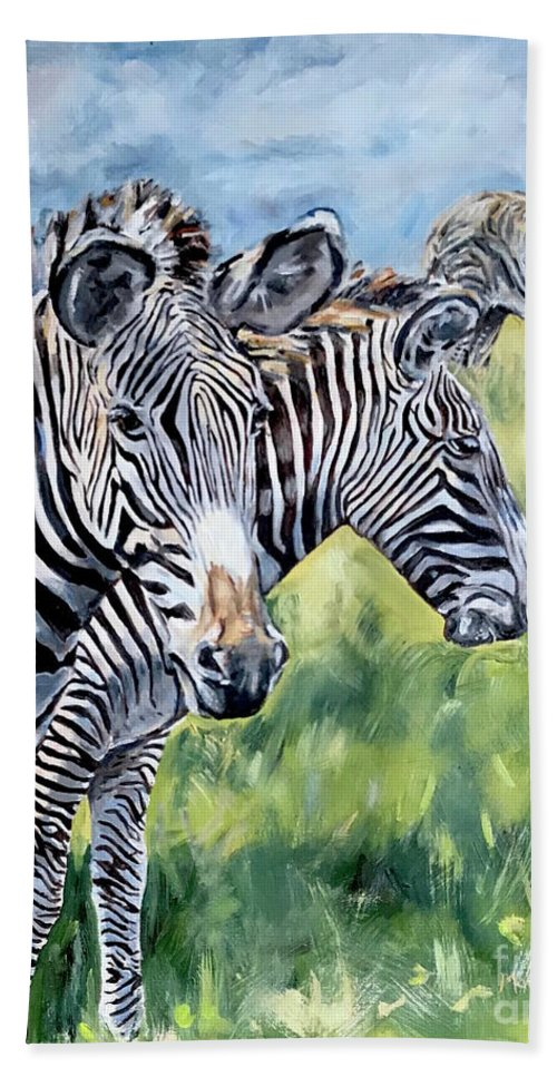 Zebra Bath Towel featuring the painting Zebras by Maria Reichert