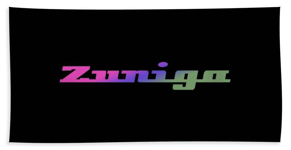 Zuniga Bath Towel featuring the digital art Zuniga #zuniga by TintoDesigns