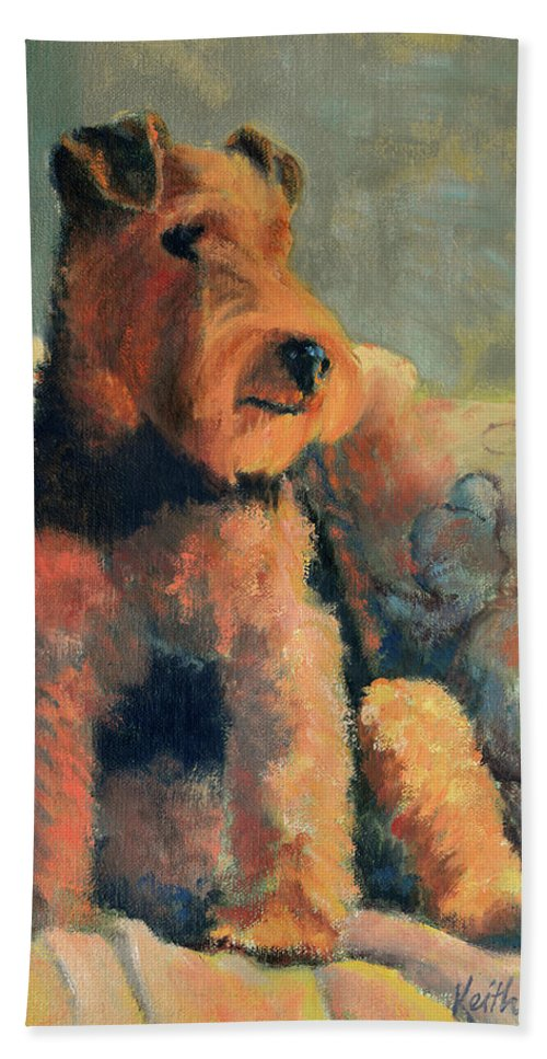Pet Hand Towel featuring the painting Zuzu by Keith Burgess