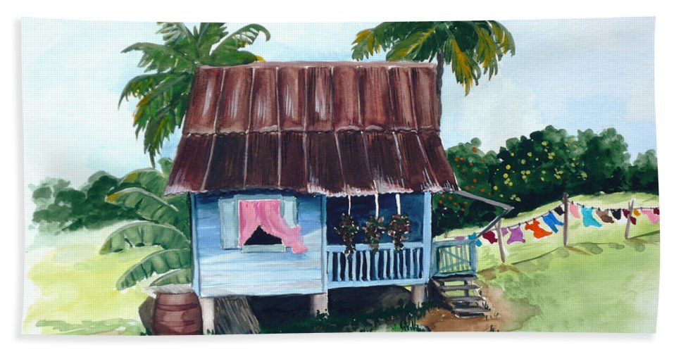 Landscape Painting Caribbean House Painting Blue House Painting Trinidad And Tobago Painting Greeting Card Painting Island Painting Tropical House Painting Blue Painting Bath Sheet featuring the painting Little Blue House by Karin Dawn Kelshall- Best