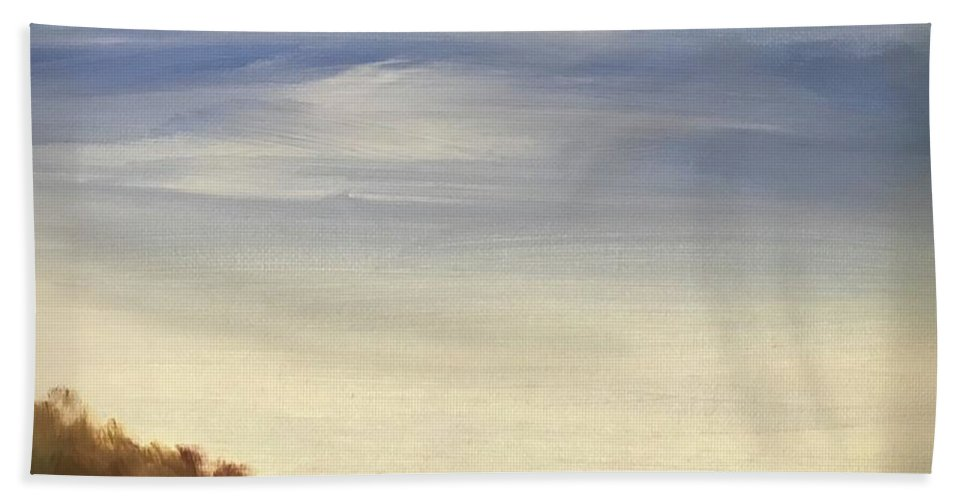Blue Sky Landscape Bath Towel featuring the painting Blue Sky by Sheila Mashaw