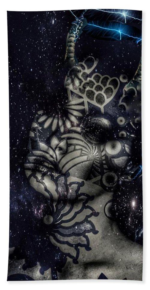 Surrealism Bath Towel featuring the digital art Celestial being by Gunilla Munro Gyllenspetz