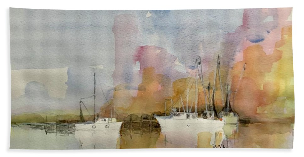 Shrimp Boat Bath Towel featuring the painting Low Country Shrimpers by Robert Yonke