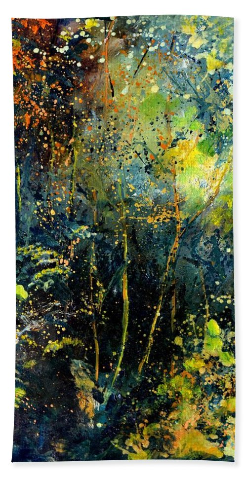 Landscape Hand Towel featuring the painting Magic forest by Pol Ledent