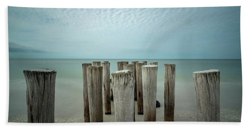 Naples Florida 2021 Bath Towel featuring the photograph Naples Pilings 2021 by Joey Waves