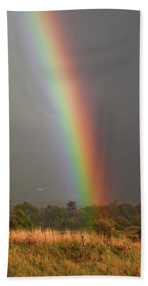 Rainbow Bath Towel featuring the photograph Rainbow by Trevor Slauenwhite