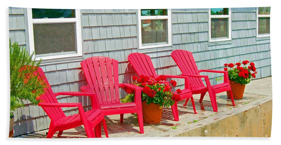 Red Hand Towel featuring the photograph Red Chairs by Debbi Granruth