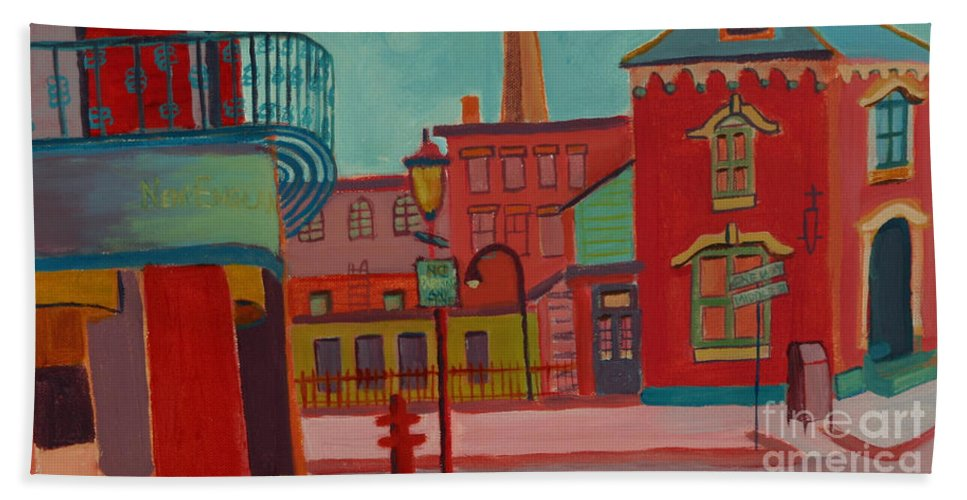 Cityscape Bath Sheet featuring the painting Middle Street in Lowell MA by Debra Bretton Robinson