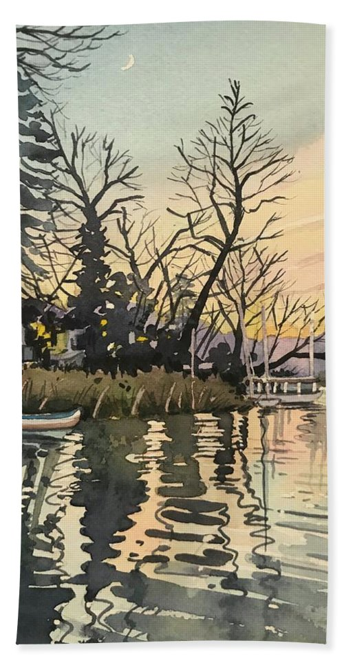 Bath Towel featuring the painting South Lakeshore - Dusk by Luisa Millicent