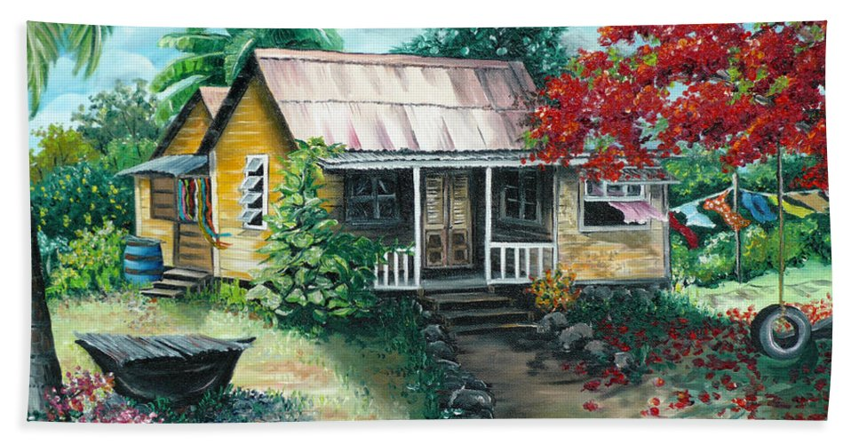 Landscape Painting Caribbean Painting Tropical Painting Island House Painting Poinciana Flamboyant Tree Painting Trinidad And Tobago Painting Bath Towel featuring the painting Trinidad Life by Karin Dawn Kelshall- Best