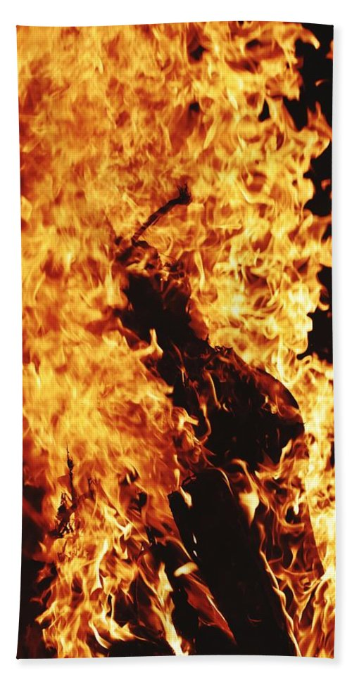 Campfire Hand Towel featuring the photograph Closeup of Fire at time of festival by Ravindra Kumar