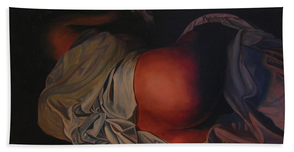 Sexual Bath Sheet featuring the painting 12 30 A M by Thu Nguyen