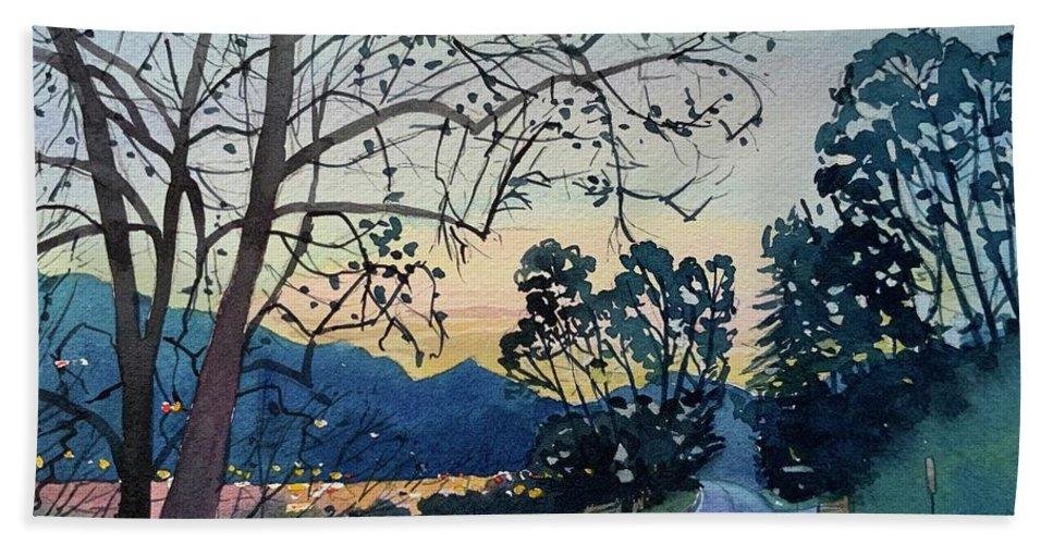 Malibou Lake Bath Towel featuring the painting Old Sycamore on Lake Vista - Dusk by Luisa Millicent