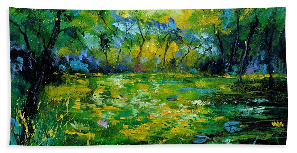 Landscape Hand Towel featuring the painting Nympheas by Pol Ledent