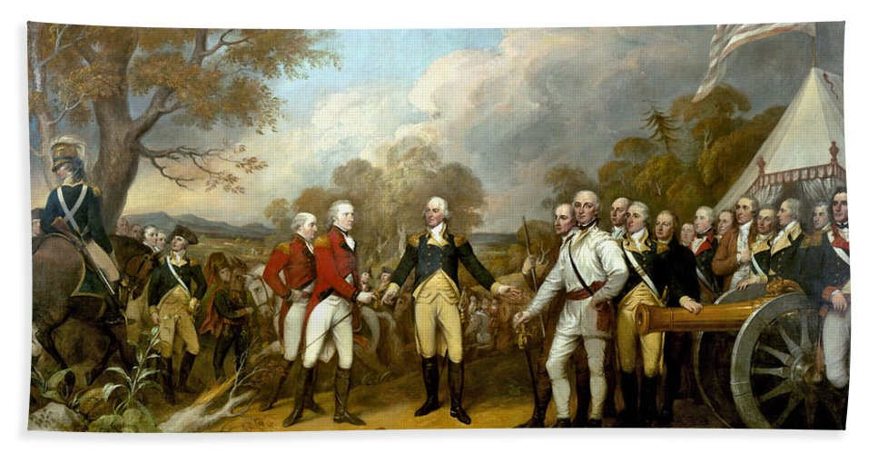 Revolutionary War Bath Towel featuring the painting The Surrender Of General Burgoyne by War Is Hell Store