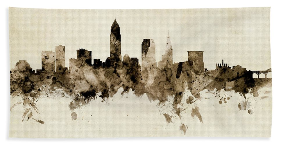 Cleveland Hand Towel featuring the digital art Cleveland Ohio Skyline by Michael Tompsett