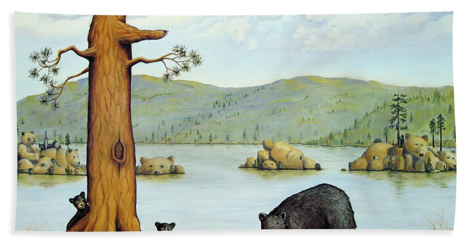 Bears Hand Towel featuring the painting 27 Bears by Jerome Stumphauzer