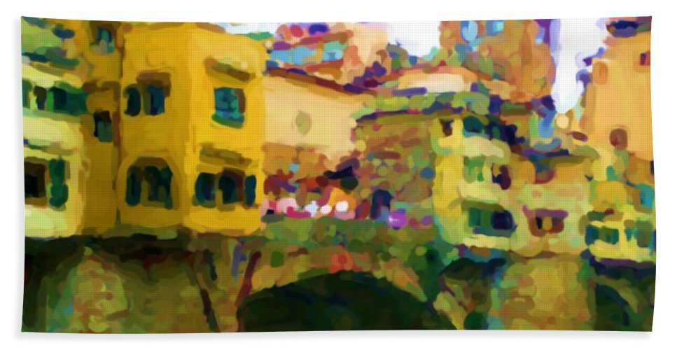Florence Bath Towel featuring the mixed media Florence by Asbjorn Lonvig