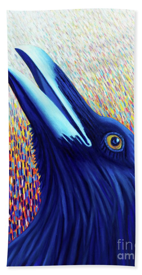 Raven Hand Towel featuring the painting A Blissful Flame by Brian Commerford